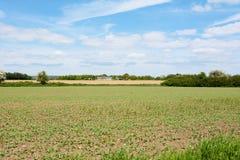 Ackerland mit landwirtschaftlichen Gebäuden jenseits Lizenzfreies Stockbild