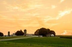 Ackerland-Sonnenuntergang in Lancaster County Stockbilder
