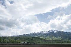 Ackerland und Bäume in den wasatch Bergen nahe ogden Utah Stockbilder