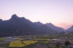 Ackerland und Berg Stockfotos
