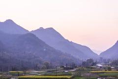 Ackerland und Berg Stockfoto
