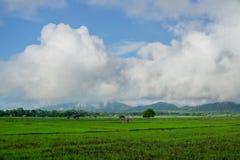 Ackerland und Hütte von Leuten Lizenzfreie Stockfotografie