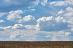 Ackerland- und Himmelhintergrund Stockfotografie