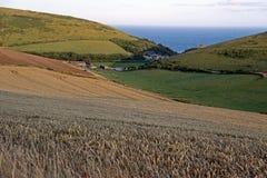 Ackerland und Ozean auf Juraküste Lizenzfreie Stockfotos