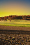 Ackerland und Weiden in der Schweiz Stockbild