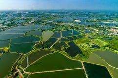 Ackerland unter dem Wasser im Thailand-Antennenfoto Lizenzfreies Stockbild