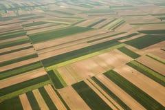 Ackerland in Voijvodina fotografierte von der Luft Stockfotos
