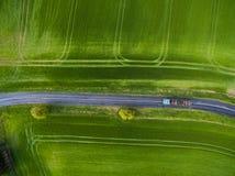 Ackerland von oben Stockfotografie