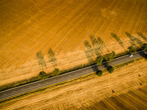 Ackerland von oben genanntem - Luftbild Stockfotografie