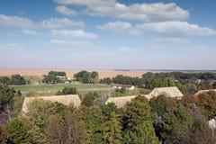 Ackerlandlandschaftsvogelperspektive Stockfotos