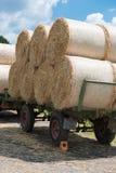 Ackerwagen mit Tierfutterstroh in der Sonne Lizenzfreies Stockbild