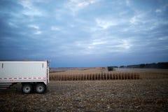Ackerwagen oder LKW, die auf einem Maisgebiet warten Stockfoto