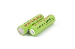 ackumulatorer green white två arkivbilder