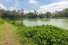 The Aclimacao Park lake view in Sao Paulo. The Aclimacao Park city view. It was the first zoo in Sao Paulo and founded by Carlos Botelho, Brazil Stock Photos