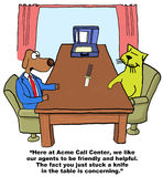 Acme Needs Friendly, Helpful Agents. Business cartoon showing business dog interviewing cat, 'Here at Acme Call Center, we like our agents to be friendly and royalty free illustration
