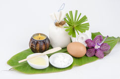 Acne facial peel recipe with egg whites and camphor. Stock Photos
