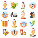 Acne Flat Icon Set Royalty Free Stock Photography