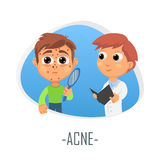 Acne medical concept. Vector illustration. Doctor and patient are talking in the hospital. Isolated on white background Royalty Free Stock Photos