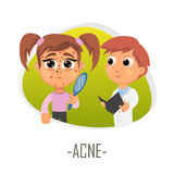 Acne medical concept. Vector illustration. Royalty Free Stock Image