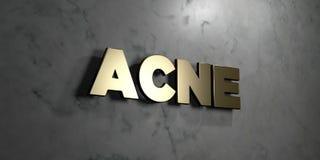 A acne - sinal do ouro montado na parede de mármore lustrosa - 3D rendeu a ilustração conservada em estoque livre dos direitos Fotografia de Stock Royalty Free