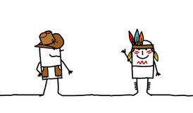 Acobarde el muchacho y al indio ilustración del vector