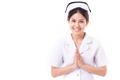 Acoger con satisfacción a la enfermera asiática Imágenes de archivo libres de regalías