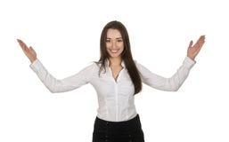 Acoger con satisfacción a la mujer de negocios Imagenes de archivo