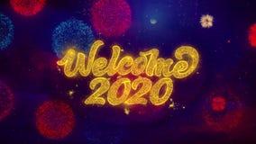 Acoja con satisfacción 2020 partículas de saludo de la chispa del texto en los fuegos artificiales coloreados
