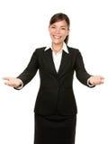 Acoja con satisfacción a la mujer de negocios del gesto Imágenes de archivo libres de regalías