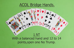 ACOL Contract Bridge Hand. Opening one no trump. Royalty Free Stock Photos