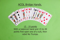 ACOL Contract Bridge Hand. Opening one of a suit. Royalty Free Stock Images