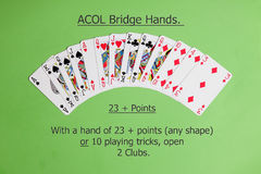 ACOL Contract Bridge Hand. Opening two clubs. Stock Photos