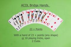 ACOL-de Hand van de Contractbrug Het openen van twee clubs Stock Foto's