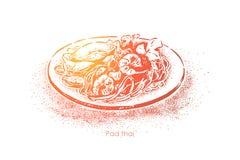 Acolchoe o tailandês, o prato asiático nacional, macarronetes de arroz fritado saborosos com molho perfumado e marisco, culinária ilustração do vetor