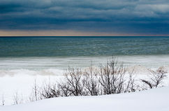 Acold Winternacht auf den Great Lakes Stockbilder