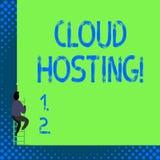 Acolhimento da nuvem do texto da escrita Conceito que significa a alternativa a hospedar Web site em únicos servidores ilustração stock