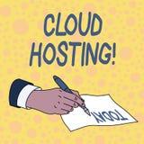 Acolhimento da nuvem do texto da escrita Conceito que significa a alternativa a hospedar Web site em ?nicos servidores ilustração stock