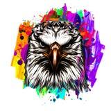Acolorful artistic eagle isolated on white backgroundgraphic design concept
