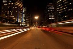 Acometida del tráfico de la noche de Avenida Paulista Fotos de archivo libres de regalías