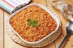 Acompañamiento del mexicano del arroz español imagen de archivo