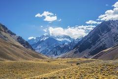 Aconcagua, στα βουνά των Άνδεων σε Mendoza, Αργεντινή. Στοκ Φωτογραφίες