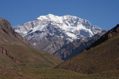 Majestic peak of Aconcagua. Aconcagua, the highest mountain peak outside Himalayas, Argentina Royalty Free Stock Image
