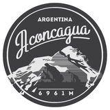 Aconcagua in Andes, Argentina outdoor adventure badge. High mountain illustration. Royalty Free Stock Photos