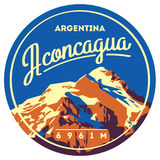Aconcagua in Andes, Argentina outdoor adventure badge. High mountain illustration. Stock Photo