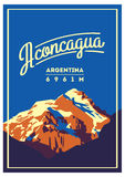 Aconcagua in Andes, Argentina outdoor adventure poster. High mountain illustration. Stock Photo