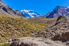 Aconcagua, The Andes around Mendoza, Argentina. Aconcagua, the highest peak of the Southern hemispherem The Andes around Mendoza, Argentina stock photos
