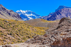 Aconcagua, The Andes around Mendoza, Argentina. Aconcagua, the highest peak of the Southern hemispherem The Andes around Mendoza, Argentina royalty free stock photography