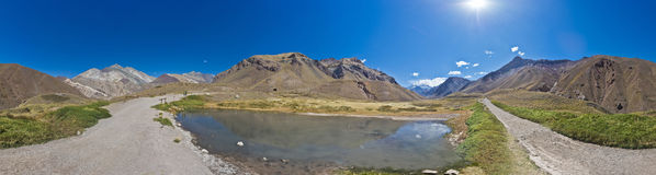 Aconcagua, in the Andes mountains in Mendoza, Argentina. Stock Photos