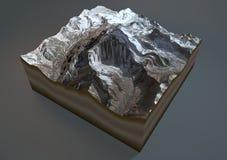 Aconcagua berg, satellit- sikt, Argentina stock illustrationer
