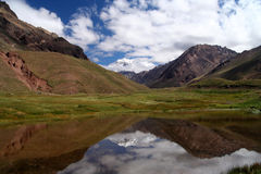 Aconcagua pond reflection Royalty Free Stock Image